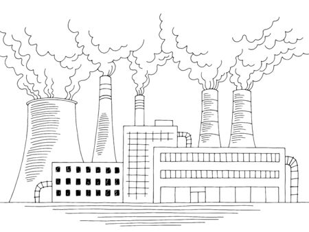 Factory building front exterior ecology problem graphic black white sketch illustration vector