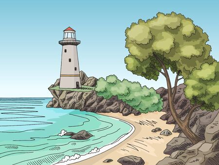 Lighthouse sea coast graphic color landscape sketch illustration vector