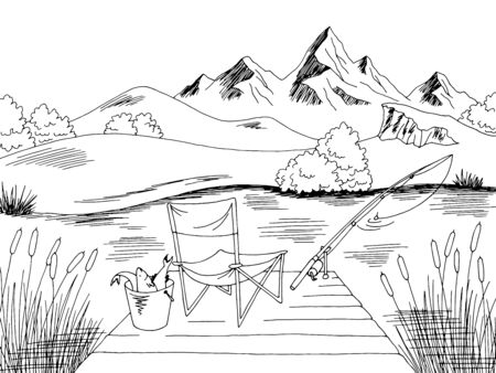 Fishing graphic black white landscape sketch illustration vector