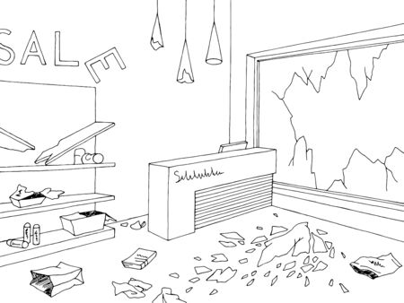 Destroyed store interior shop black white graphic sketch illustration vector Ilustracja