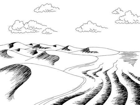Desert sea coast graphic black white landscape sketch illustration vector  イラスト・ベクター素材