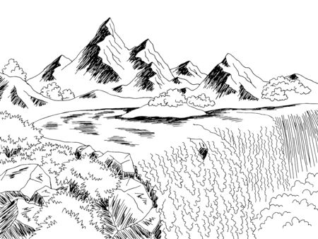 Waterfall mountain river graphic black white landscape sketch illustration vector