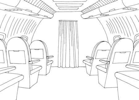 Aircraft interior graphic black white sketch illustration vector