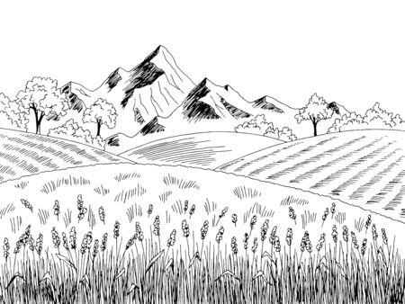 Field graphic black white landscape sketch illustration vector Vectores