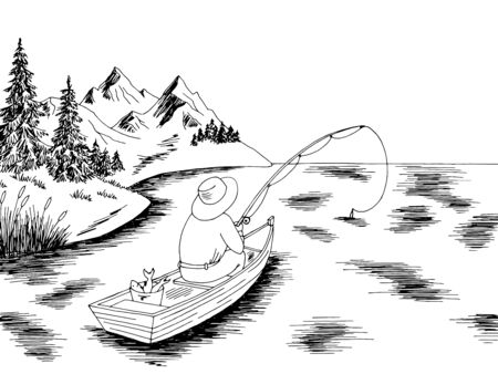 Fishing man in a boat graphic black white landscape sketch illustration vector  イラスト・ベクター素材