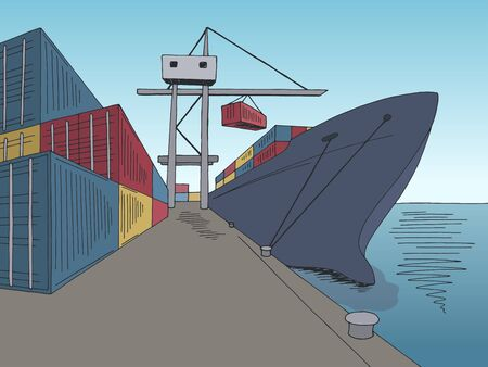 Port loading dry cargo ship graphic color sea landscape sketch illustration vector Çizim