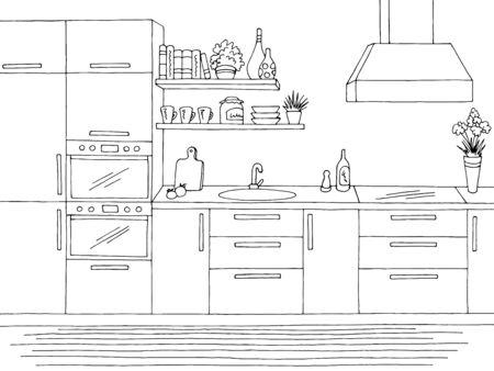 Kitchen room graphic black white home interior sketch illustration vector Illustration
