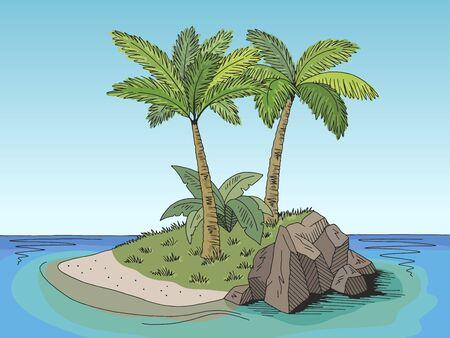 Island graphic color landscape sketch illustration vector