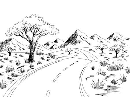 Savannah road graphic black white landscape sketch illustration vector