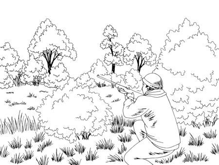 Hunter is ambushed in the bush forest glade graphic black white landscape sketch illustration vector