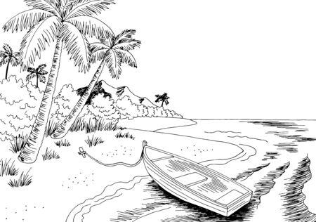 Sea coast boat graphic black white landscape sketch illustration vector