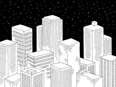 City night graphic black white cityscape top view from above aerial sketch illustration vector  イラスト・ベクター素材