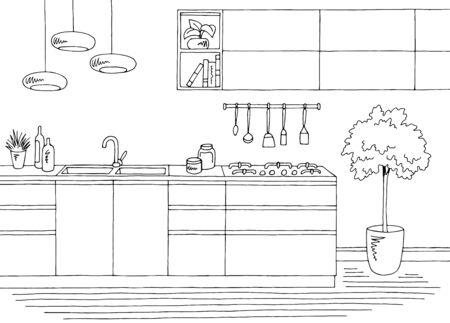 Kitchen room graphic black white home interior sketch illustration vector 向量圖像