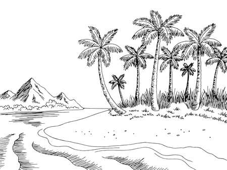 Sea coast graphic beach black white landscape sketch illustration vector
