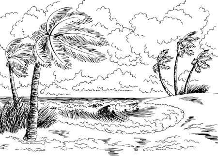 Sea coast storm graphic beach black white landscape sketch illustration vector Vektorové ilustrace