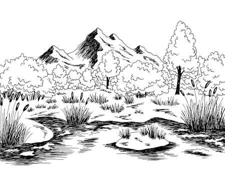 Bog swamp graphic black white landscape sketch illustration vector 向量圖像