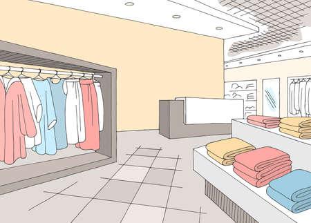 Shop store interior graphic color sketch illustration vector