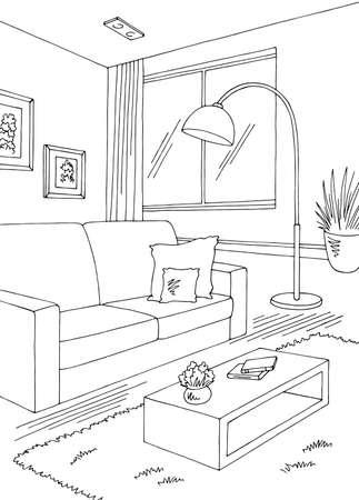 Living room graphic black white home interior vertical sketch illustration vector Vettoriali