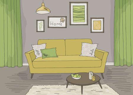 Living room graphic color home interior sketch illustration vector Vettoriali