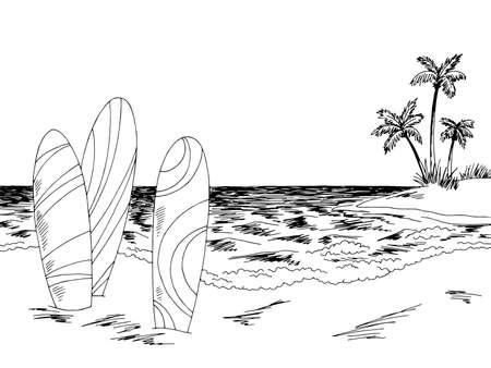 Surfboard sea coast graphic beach black white landscape sketch illustration vector