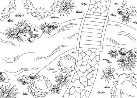 Garden landscape architect design backyard plan graphic black white sketch aerial view illustration vector