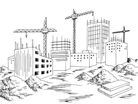 Construction city building exterior graphic black white cityscape skyline sketch illustration vector
