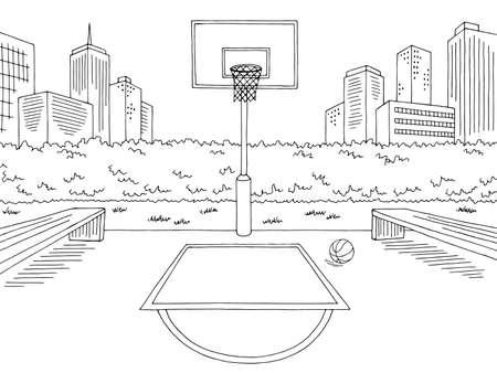 Basketball court street sport graphic black white city landscape sketch illustration vector