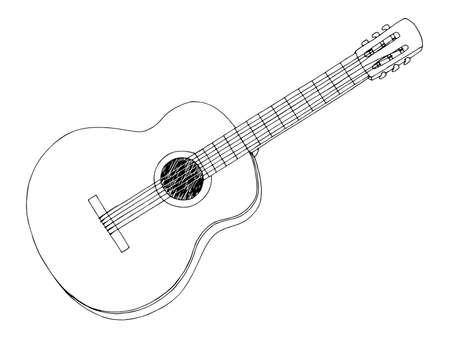 Guitar graphic black white isolated sketch illustration vector Vettoriali