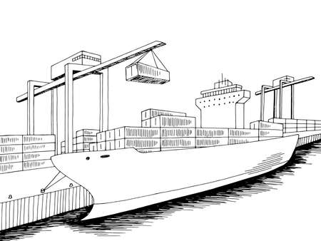 Port loading dry cargo ship graphic black white sea landscape sketch illustration vector