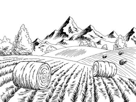 Autumn field hill graphic black white landscape sketch illustration vector Ilustração