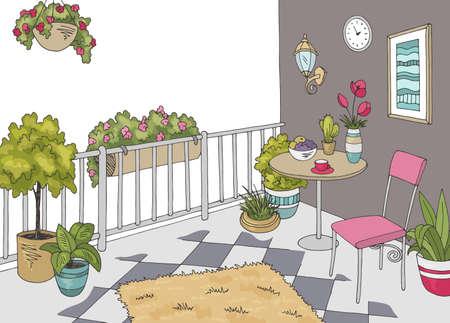 Balcony garden graphic color interior sketch illustration vector