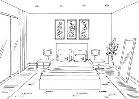 Bedroom graphic black white home interior sketch illustration vector Ilustración de vector