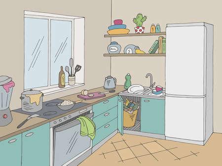 Kitchen mess room graphic color home interior sketch illustration vector