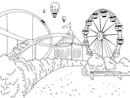Amusement park landscape graphic black white sketch illustration vector