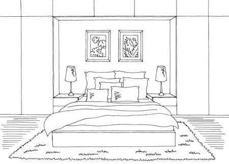 Bedroom graphic black white home interior sketch illustration vector Vecteurs