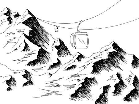 Cable car graphic mountain black white landscape sketch illustration vector