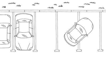 Wrong parking top aerial view graphic black white sketch landscape illustration vector