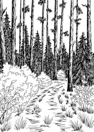 Forest road graphic black white vertical landscape sketch illustration vector