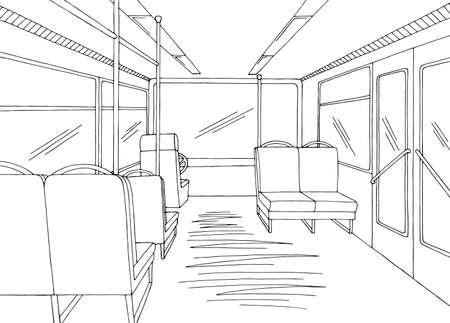 Bus interior graphic black white sketch illustration vector