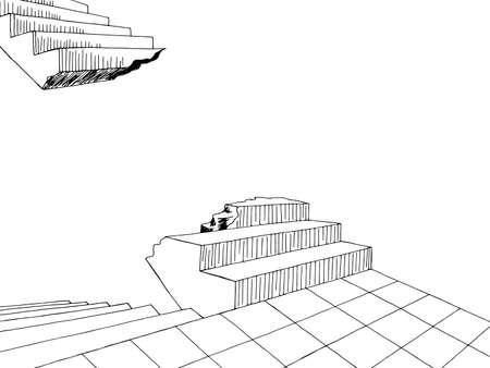 Broken stairs graphic black white dreams nightmare horror interior sketch illustration vector 向量圖像