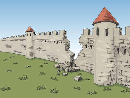 Broken wall medieval castle graphic color sketch illustration vector Vetores