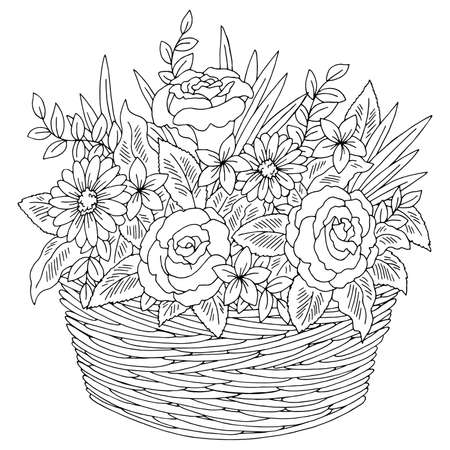 Flower basket graphic black white isolated bouquet sketch illustration vector