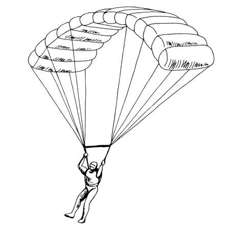 Man jumping with a parachute isolated graphic black white sketch illustration vector Vetores