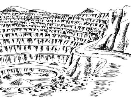 Open mine graphic black white landscape sketch illustration vector