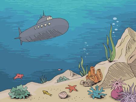 Underwater submarine graphic sea color sketch illustration vector