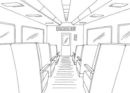 Train interior graphic black white sketch illustration vector 일러스트