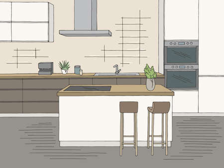 Kitchen room graphic color home interior sketch illustration vector
