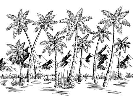 Mountain palm grove graphic black white landscape sketch illustration vector