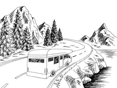Camper travel road graphic black white landscape sketch illustration vector Vektorgrafik