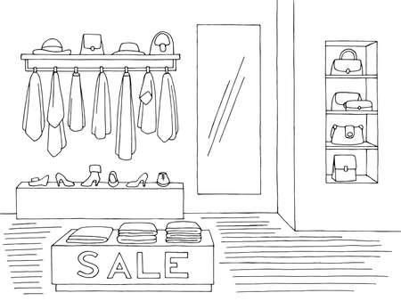 Shop store interior graphic black white sketch illustration vector Vetores